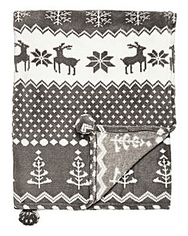Nordic Print Throw with Pom Poms