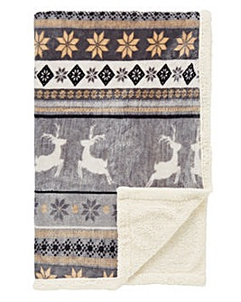 Winter Stag Sherpa Throw