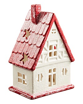 White and Red House Tealight Holder