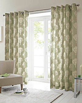 Woodland Trees Lined Eyelet Curtains