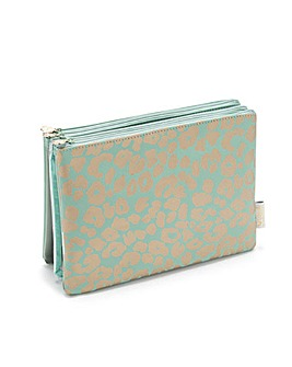 AMY 3-IN-1 MAKEUP WALLET LEOPARD JADE