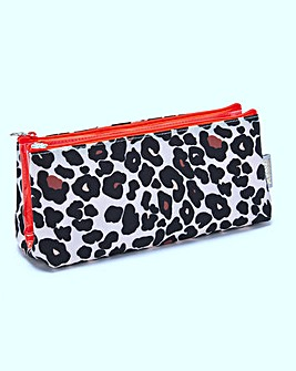 LEOPARD TAN FOLDING MAKEUP BAG