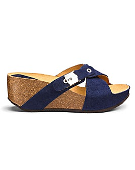 Scholl Elon Wedge Cross Over Sandals Wide E Fit