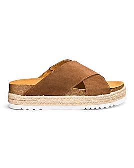 Scholl Malindy Cross Espadrille Slider Sandals Wide E Fit
