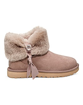 Ugg Cinched Fur Mini Ankle Boots