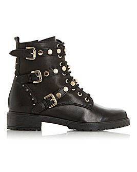 Dune Reegans Leather Buckle Ankle Boots Standard D Fit