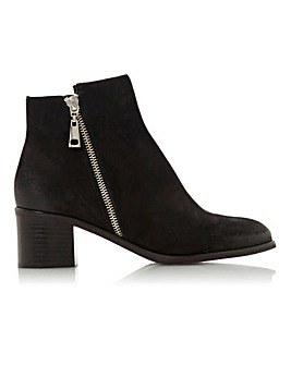 Dune Peggey Leather Side Zip Ankle Boots Standard D Fit