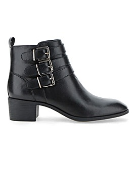 Lotus Leather Triple Buckle Ankle Boots Wide E Fit