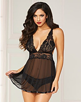 Seven Til Midnight Black Babydoll Set