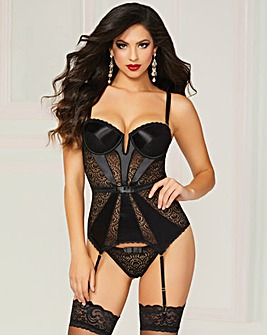 Seven Til Midnight Black Bustier Set