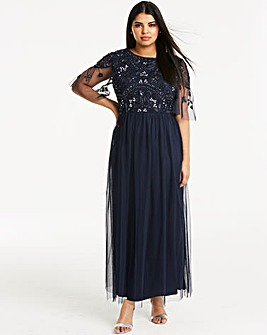 Joanna Hope Beaded Mesh Maxi Dress