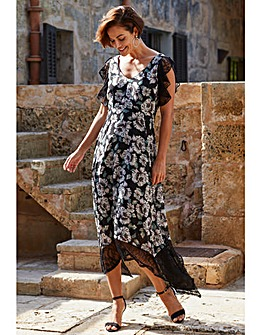 Joanna Hope Black Floral Print Maxi Dress