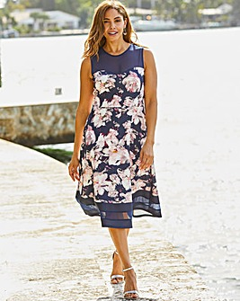 Joanna Hope Navy Floral Scuba Prom Dress