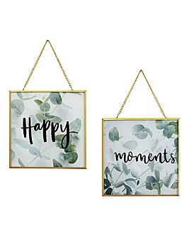Set of 2 Glass Hanging Framed Prints
