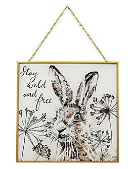 Hare Print on Glass Hanging Frame