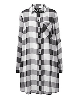 Black/White Longline Check Shirt