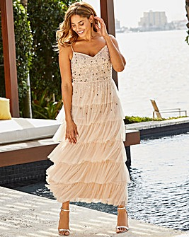 Joanna Hope Beaded Tiered Maxi Dress