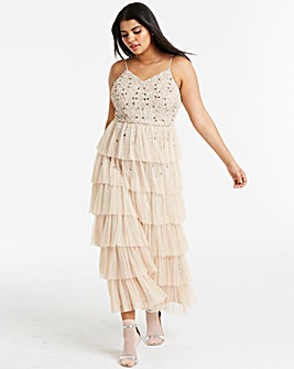 Joanna Hope Beaded Tiered Boho Dress