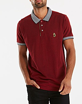 Luke Sport Deep Red Whittle Tape Detail Polo Regular