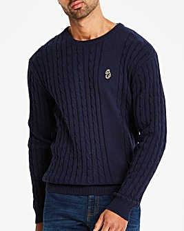 Luke Sport Navy Spencer Cable Knit Jumper Regular