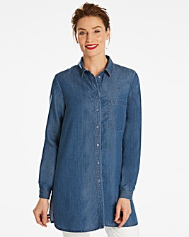 Blue Soft Tencel Denim Longline Shirt