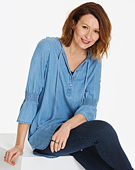 Soft Tencel Tunic With Fluted Sleeves