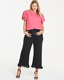 Black Joss Corset Crop Wide Leg Jeans