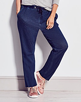 Jersey Denim Relaxed Straight Leg Jeans