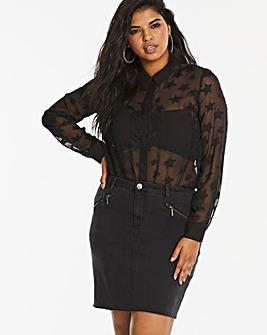 Authentic Stretch Zip Detail Denim Skirt
