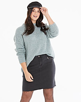Authentic Stretch Zip Detail Denim Skirt
