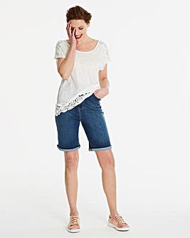 Blue Everyday Knee Length Denim Shorts