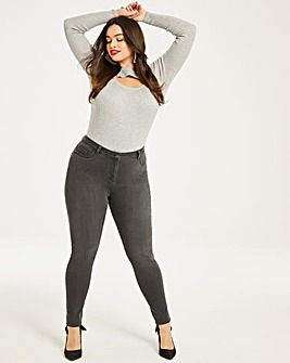 Grey Sophia Fly Front Jeggings