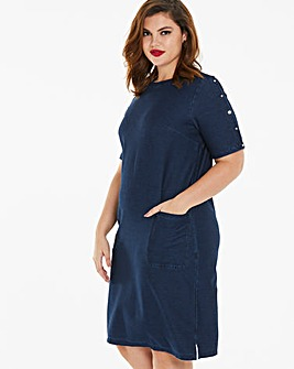 Premium Jersey Denim Shift Dress