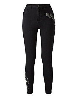 Sophia Embroidered Pearl Jeggings