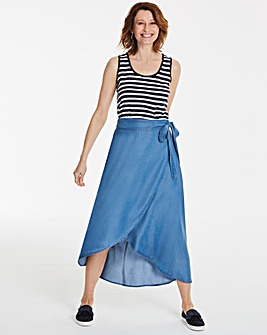 Soft Tencel Denim Wrap Floaty Maxi Skirt