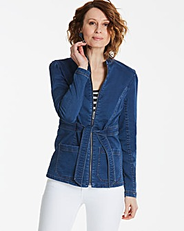 Soft Jersey Belted Denim Jacket