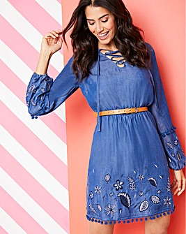 Embroidered Tencel Denim Dress