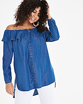 Bardot Frill Soft Tencel Denim Tunic
