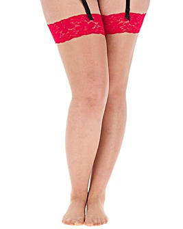 Boux Avenue Red Lace Top Stocking
