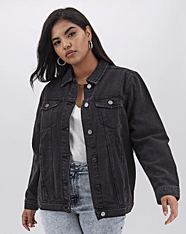 Washed Black Oversized Denim Jacket