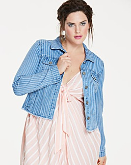 Stripe Raw Hem Denim Jacket