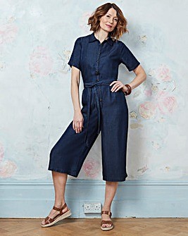 Soft Tencel Denim Culotte Utility Jumpsuit