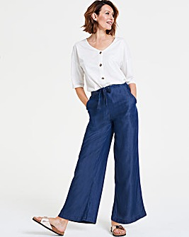 Indigo Tencel Denim Wide Leg Trousers