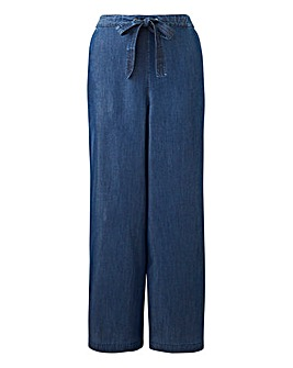 Indigo Soft Tencel Denim Wide Leg Trousers with Elasticated Back Waist