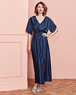Soft Tencel Shirred Waist Maxi Dress