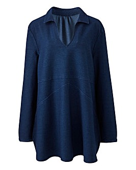 Premium Jersey Denim V-Neck Tunic