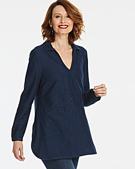 Premium Jersey Denim V-Neck Tunic