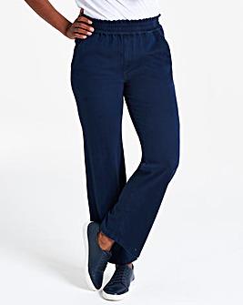 Indigo Jersey Denim Wide Leg Jeans