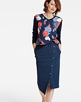 Supersoft Jersey Denim Midi Skirt
