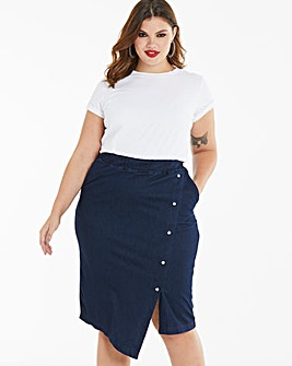 Supersoft Jersey Denim Midi Skirt